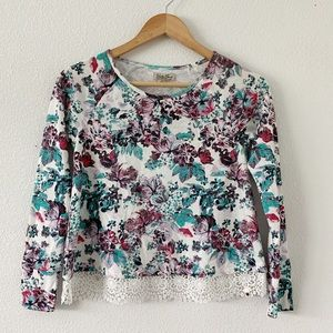 Lucky Brand White Floral Long Sleeve Top size L